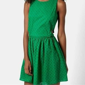 Topshop | Green Eyelet Cutout Dress